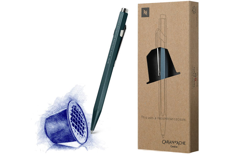 Nespresso Caran d'Ache stylo bille 849 capsules de café aluminium recyclé lappoms lifestyle blog
